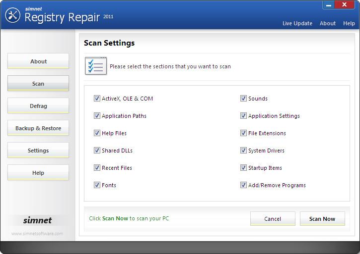 Simnet Registry Repair diagnoses and repairs all your PC errors ...