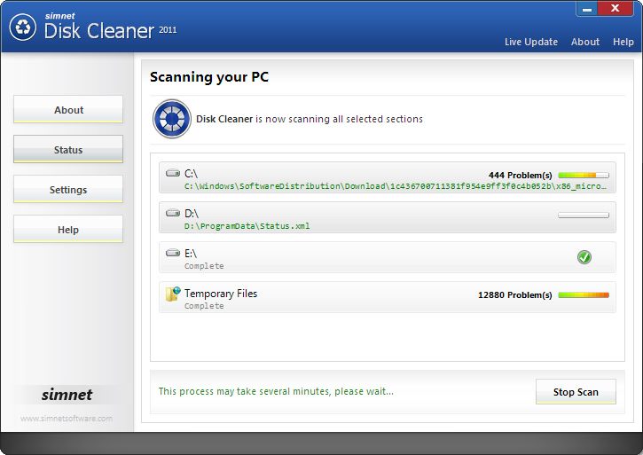 Click to view Simnet Disk Cleaner 2011 screenshots