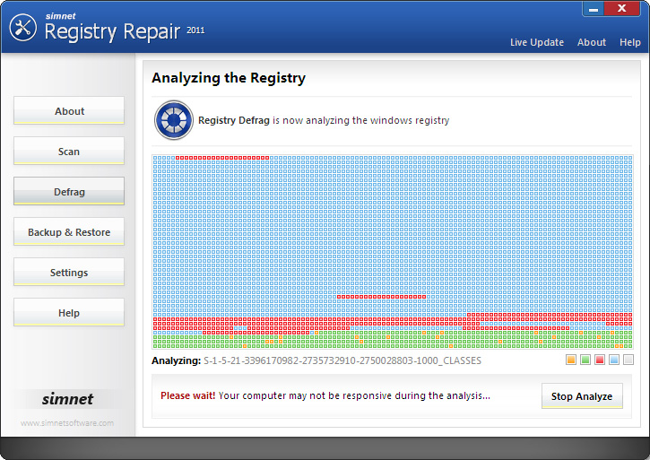 Click to view Simnet Registry Defrag 2011 3.1.3.2 screenshot