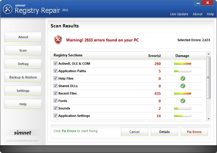 Click to view Simnet Registry Repair 2011 3.1.1.2 screenshot