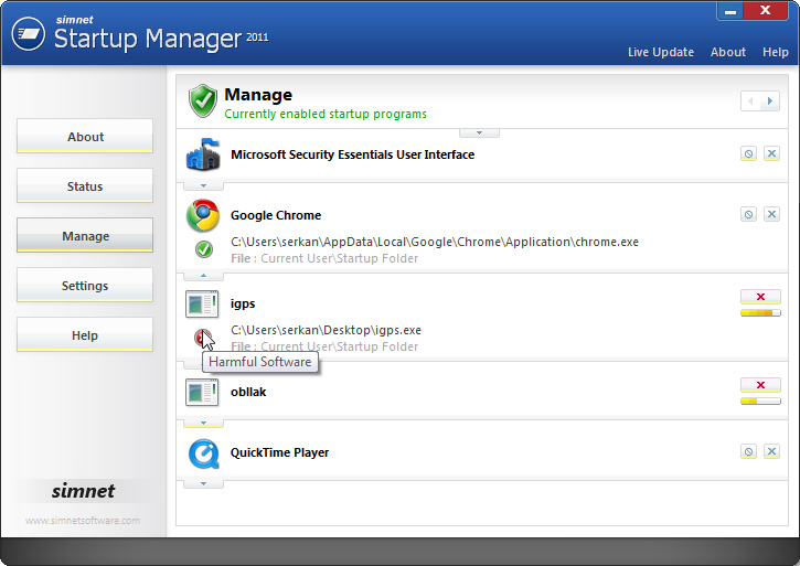 Simnet Startup Manager 2011 Tool